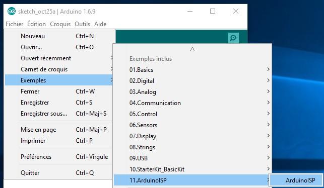 Guide pour choisir l'exemple dans l'ArduinoIDE